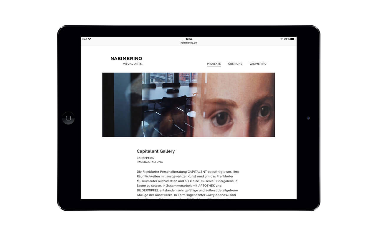 NABIMERINO Visual Arts.: Webdesign / Nabimerino / iPad quer