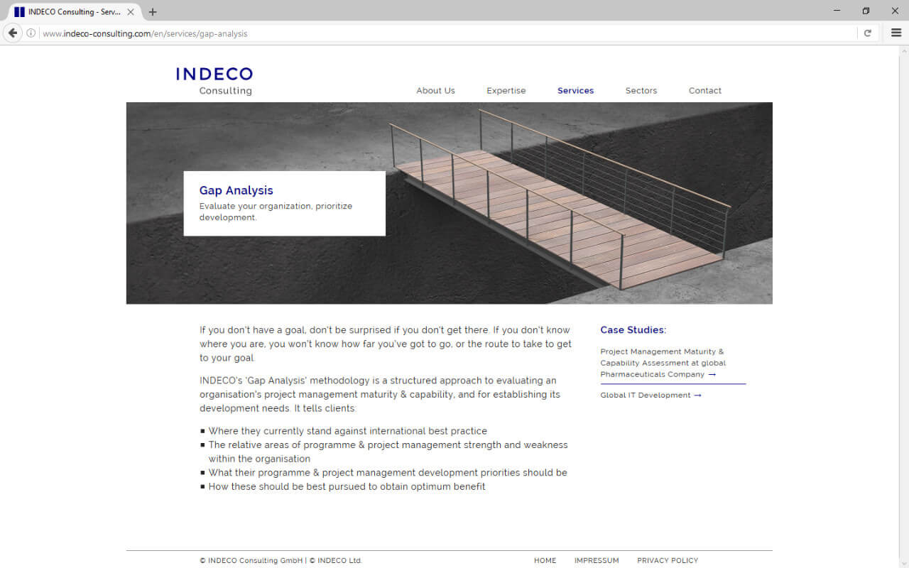 Indeco-Consulting GmbH: Webdesign / Indeco Consulting / Gap Analysis