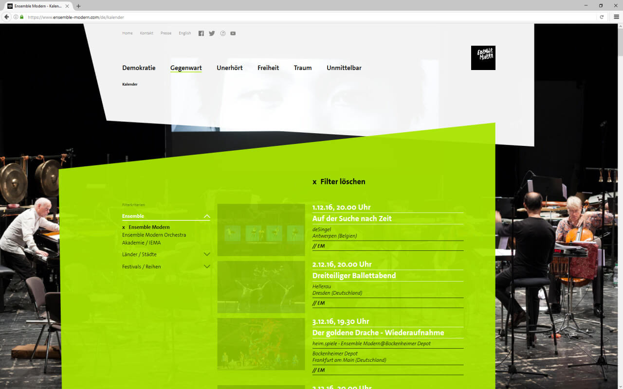 Ensemble Modern: Webdesign / Ensemble Modern / Kalender