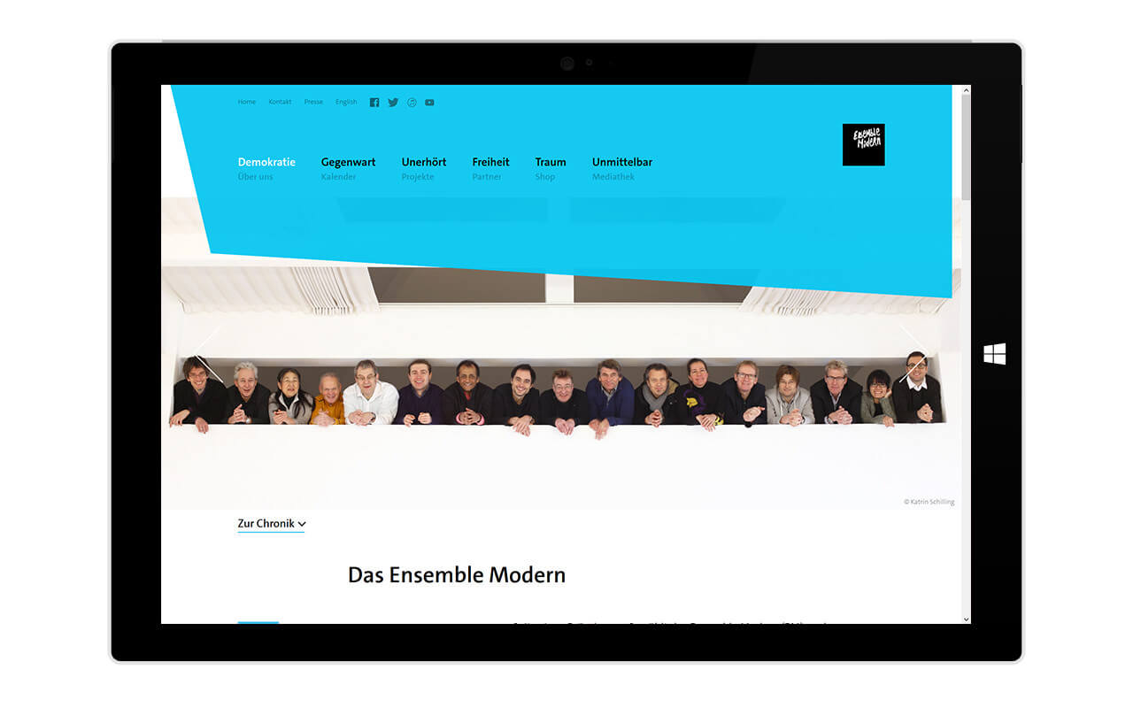 Ensemble Modern: Surface 3 Pro / Webdesign / Ensemble Modern