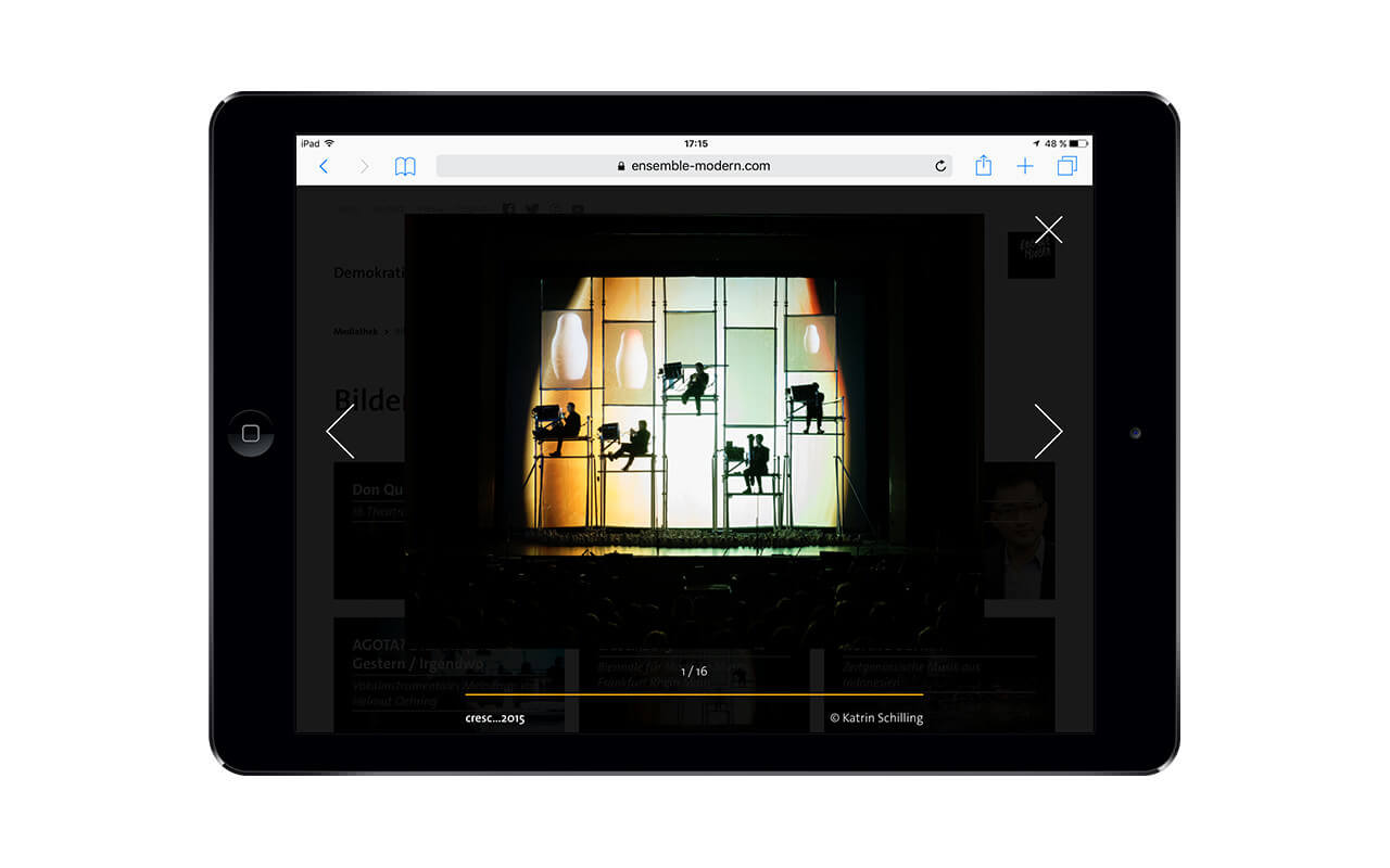 Ensemble Modern: iPad / Webdesign / Ensemble Modern / Lightbox