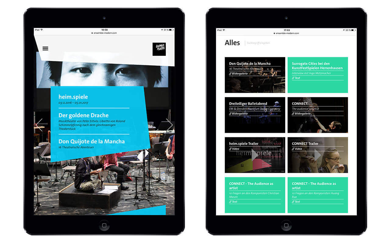 Ensemble Modern: iPad / Webdesign / Ensemble Modern / Startseite / Mediathek