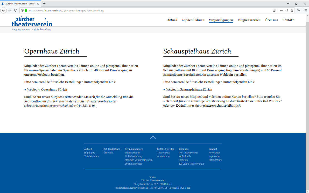 Zürcher Theaterverein: Webdesign Zürcher Theaterverein / Ticketbestellung