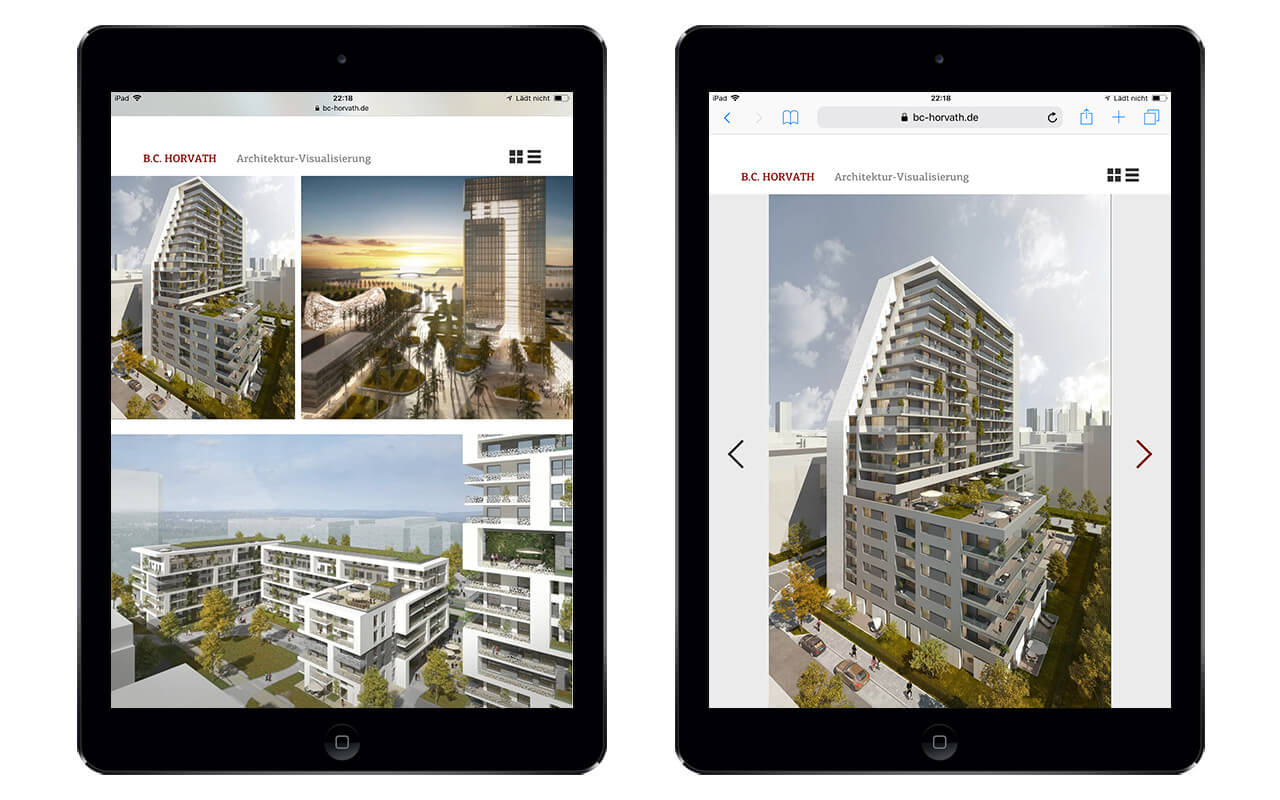 B.C. Horvath Architektur-Visualisierung: Webdesign BC Horvath / iPad Portraitmodus