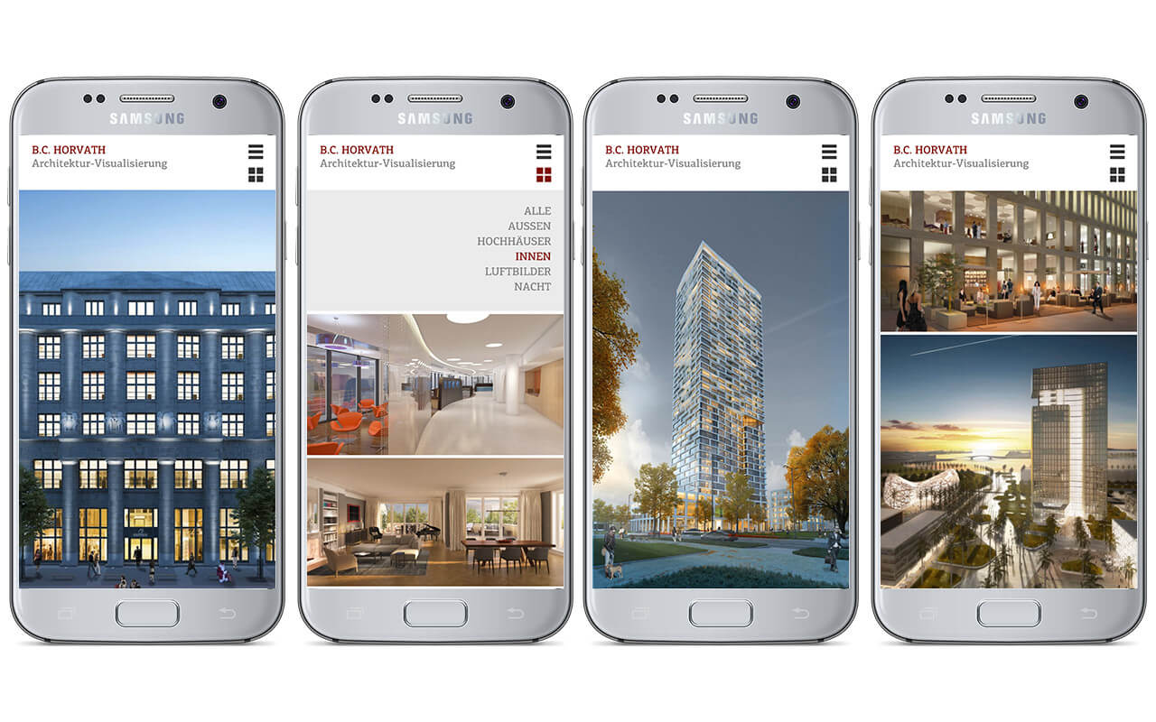 B.C. Horvath Architektur-Visualisierung: Webdesign BC Horvath / Smartphone