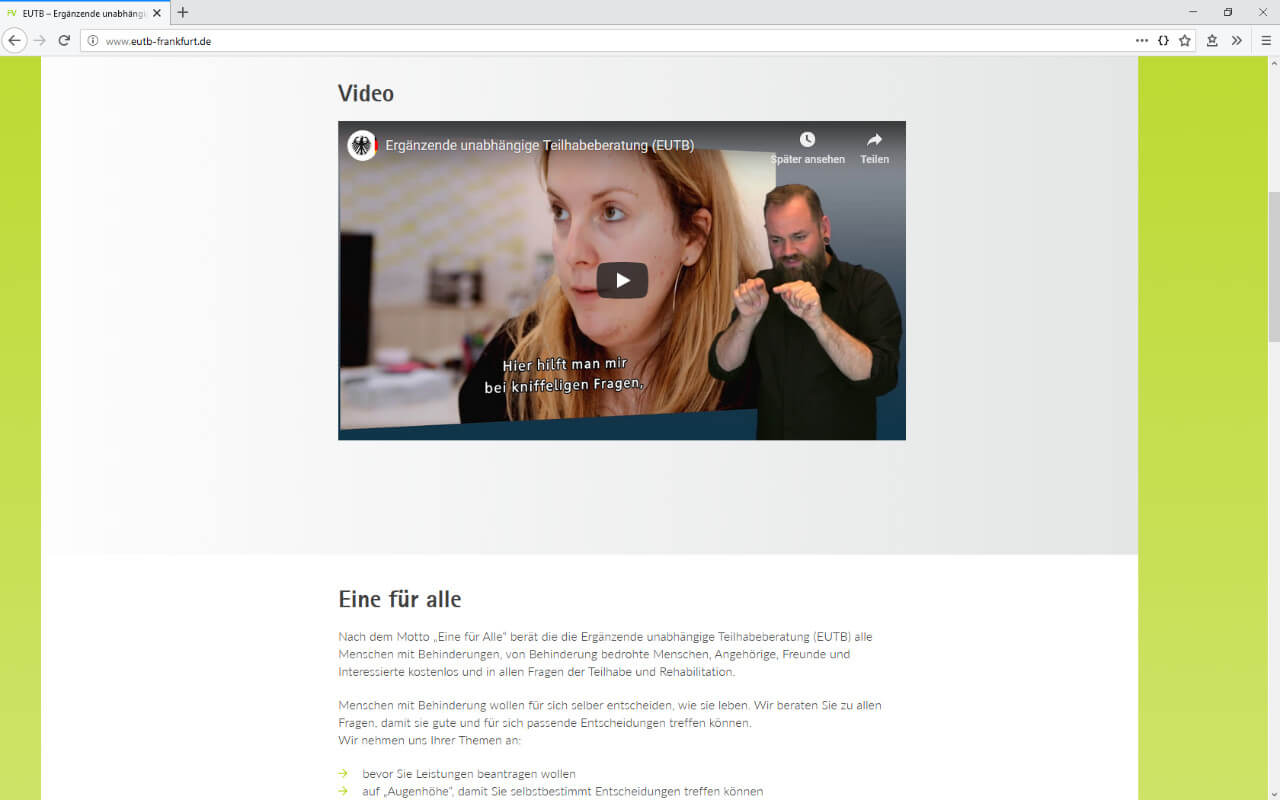 Frankfurter Verein / EUTB: Webdesign / EUTB / Video