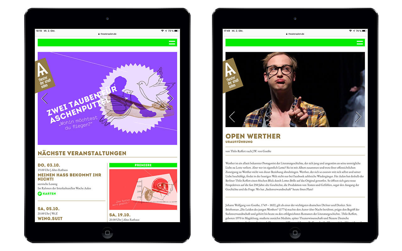 Theater Aalen: Webdesign / Theater Aalen / iPad Air