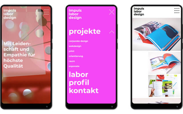 Screenshot impuls labor design / Website / Smartphone