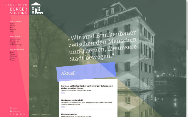 Screenshot Frankfurter Bürgerstiftung / Website / Home