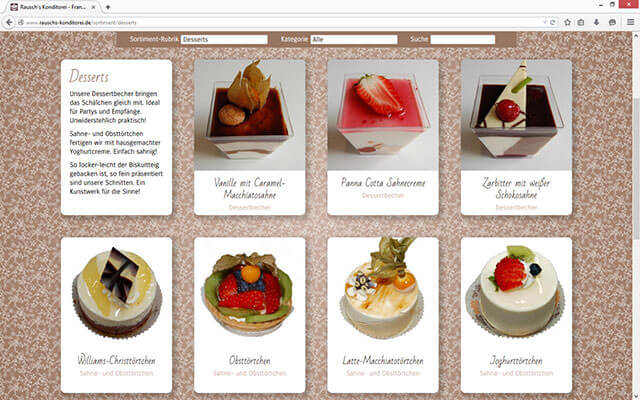 Screenshot Sortiment - Desserts