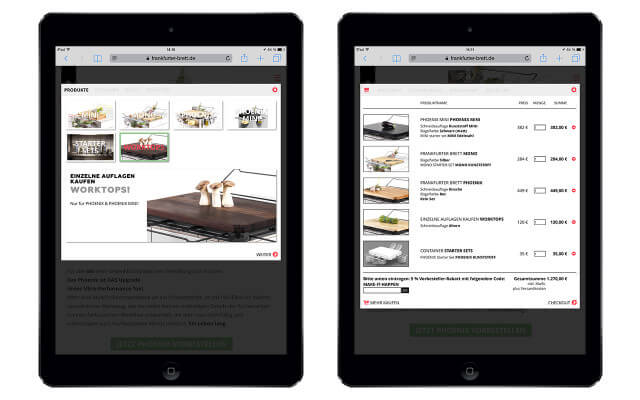 Screenshot Webdesign / Online Shop / mobiltauglich