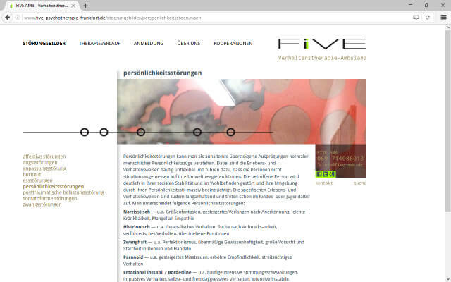 Screenshot Webdesign / FIVE AMB