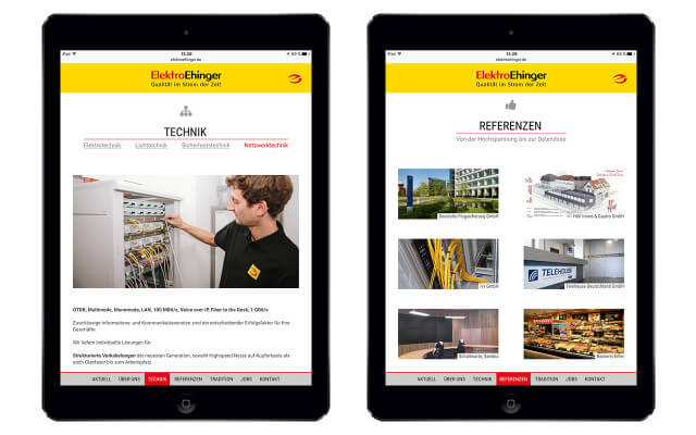 Screenshot Webdesign / Elektro Ehinger / iPad