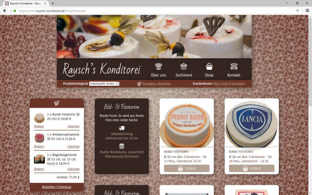 Screenshot Webdesign / Online Shop / Rausch's Konditorei