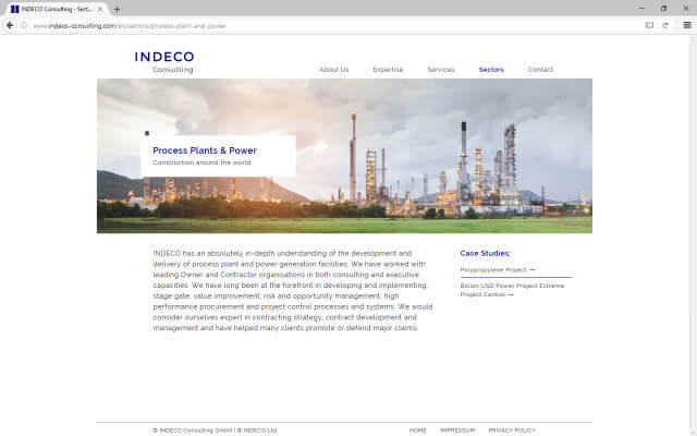 Screenshot Webdesign / Indeco Consulting / Sectors
