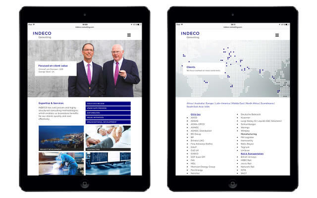 Indeco-Consulting GmbH: Webdesign / Indeco Consulting / iPad portrait