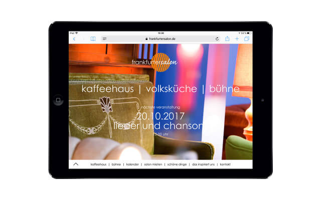Screenshot frankfurtersalon / Webdesign / iPad