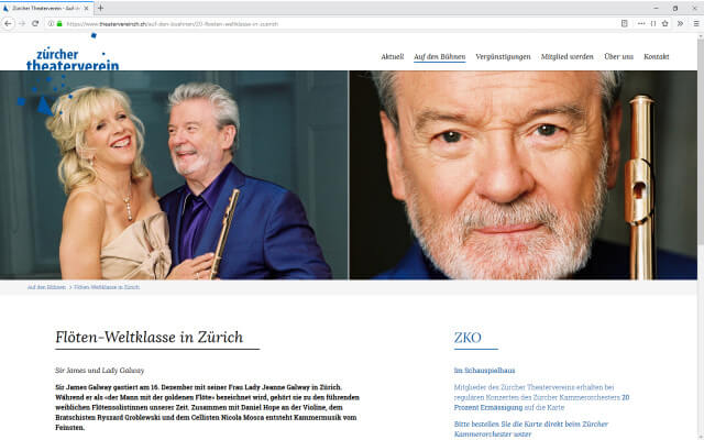 Screenshot Webdesign Zürcher Theaterverein / Flötenweltklasse
