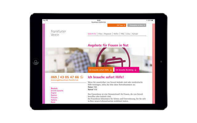 Screenshot Webdesign Angebote für Frauen in Not / iPad Landscape