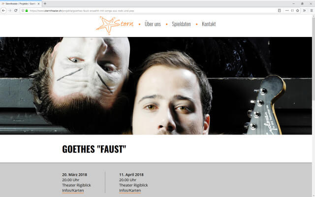 Screenshot Sterntheater / Webdesign / Projektseite Faust