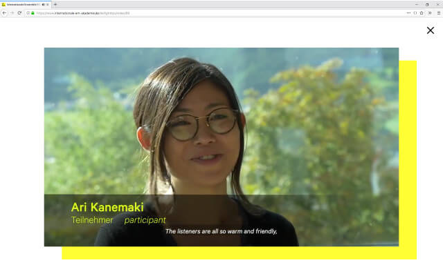 Internationale Ensemble Modern Akademie: Webdesign / IEMA / Lightbox Video