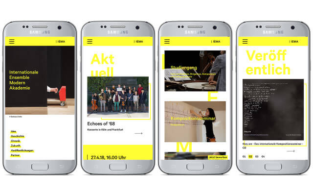 Internationale Ensemble Modern Akademie: Webdesign / IEMA / Smartphone
