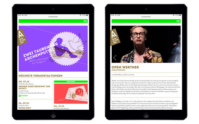 Screenshot Webdesign / Theater Aalen / iPad Air