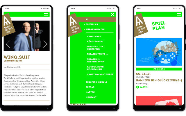 Screenshot Webdesign / Theater Aalen / Smartphone
