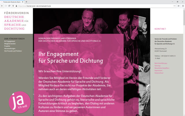 Screenshot Förderverein Deutsche Akademie / Webdesign / One-Pager