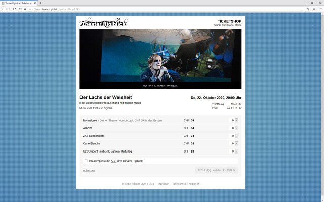 Screenshot Ticketshop / Lachs der Weisheit
